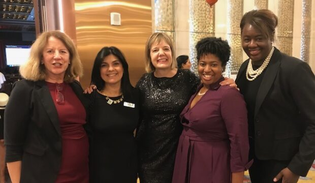 L-R Pro Bono Committee members Bonnie Piper, Mary's Center Vice President of Communications Lyda Vanegas, Jane Tobler, Gabrielle Arrington and Carol Wilkerson at the Mary's Center Gala in 2018.